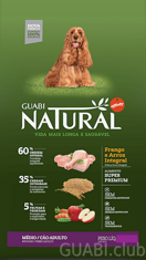 GUABI NATURAL Adulto Medio Frango/Arroz (Adult Medium Chicken/Rice) 15 kg.