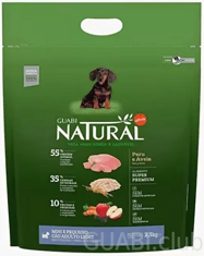 GUABI NATURAL Adulto Light Mini/Pequeno Peru/Aveia (Adult Light Miniature / Small Turkey/Oats) 2,5 kg