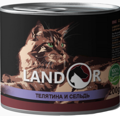 LANDOR Senior Cat Calf / Salmon пожилые и малоактивные кошки ТЕЛЯТИНА / СЕЛЬДЬ (Банка) 200 гр.