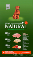GUABI NATURAL Adulto Light Medio / Grande Peru/Aveia (Adult Light Medium / Giant Turkey/Oats) 15 kg.