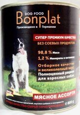 BONPLAT Dog Meat влажный для собак МЯСНОЕ АССОРТИ (Банка) 800 гр